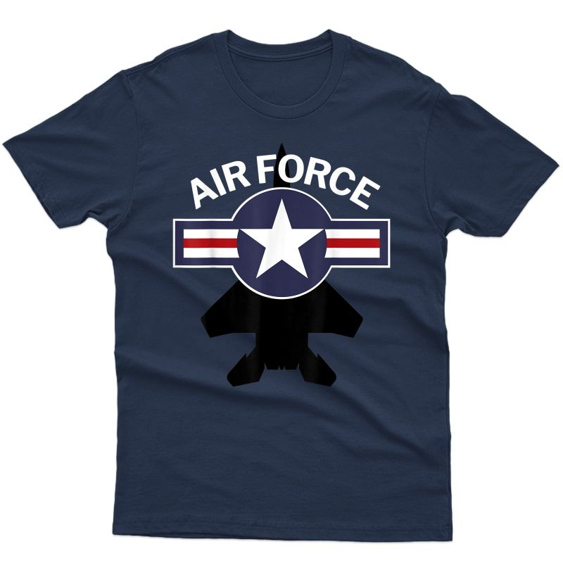 Air Force With F15 Jet And Vintage Roundel T-shirt