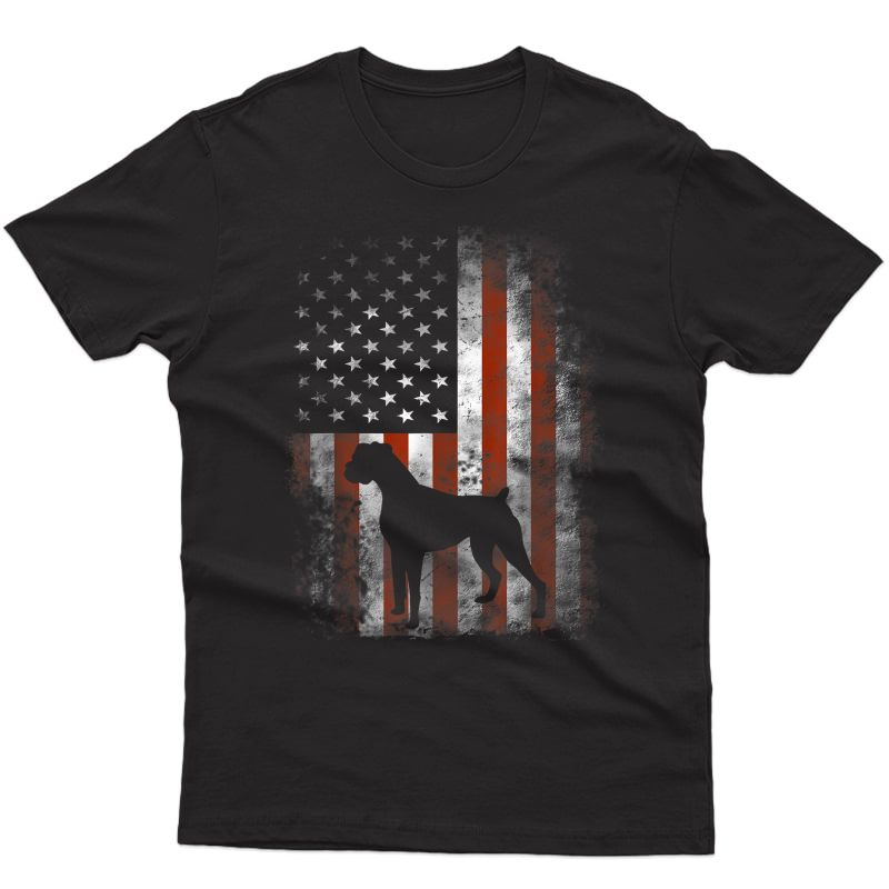 Boxer American Flag Shirt Usa 4th Of July Dog T-shirt Gifts T-shirt