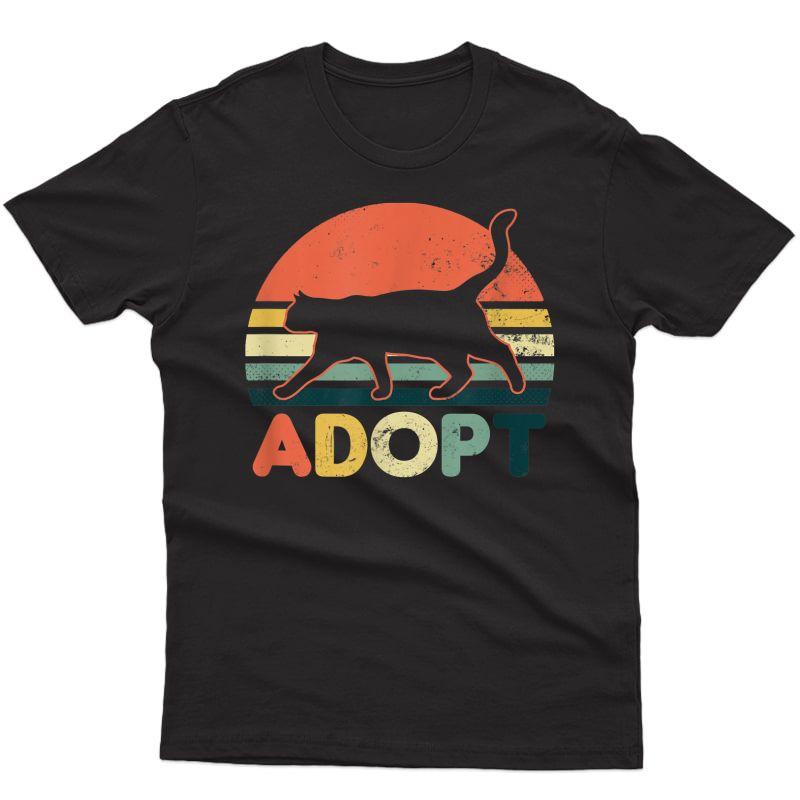 Cat Adoption Design Vintage Retro Sunset Adopt Gift T-shirt