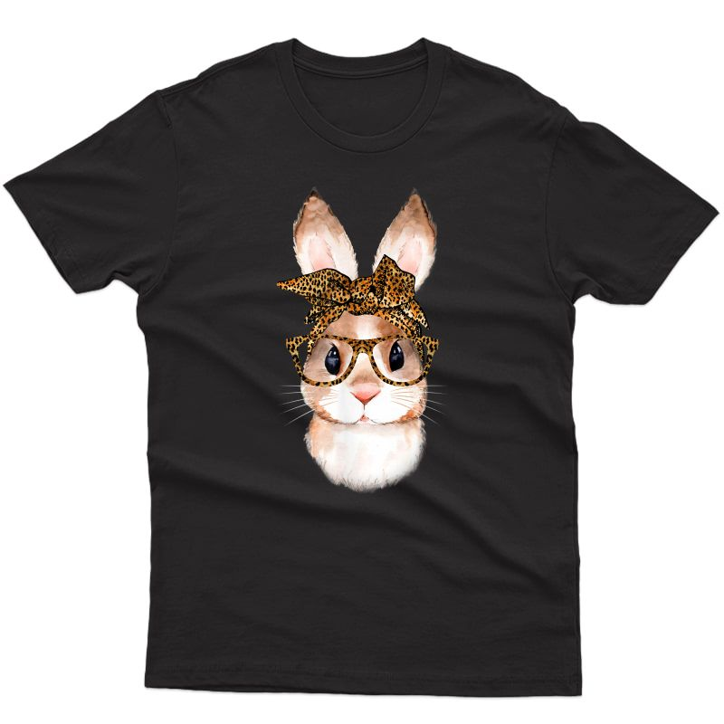 Cute Nerd Easter Bunny Mom Leopard Bandana Rabbit Easter T-shirt