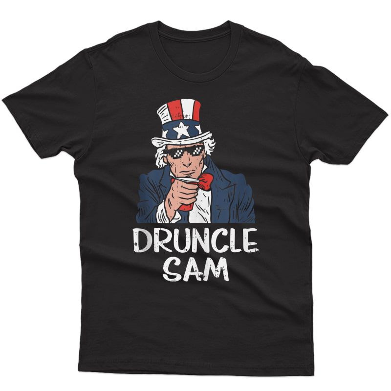 Druncle Sam Funny Uncle Sam Beer 4th Of July Party Drinking Tank Top Shirts