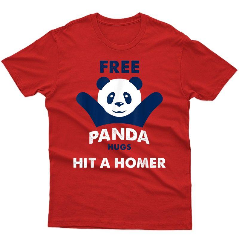 Free Panda Hugs Braves Hit A Homer- Free Panda Hugs T-shirt