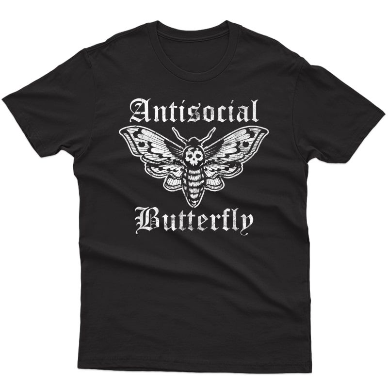 Funny Antisocial Butterfly, Introvert Distressed Design T-shirt