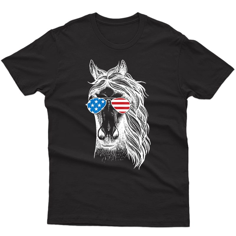 Funny Horse Patriotic Usa Flag Aviator Sun Glasses Design T-shirt