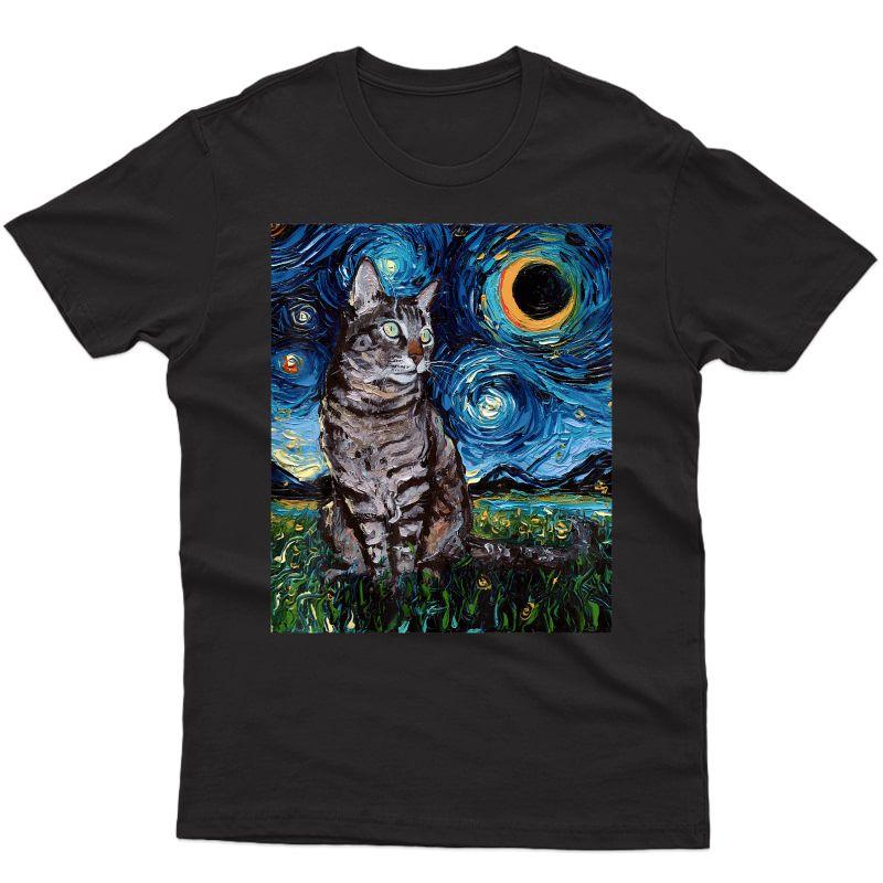Gray Tabby Tiger Cat Starry Night Moon And Stars Art By Aja T-shirt