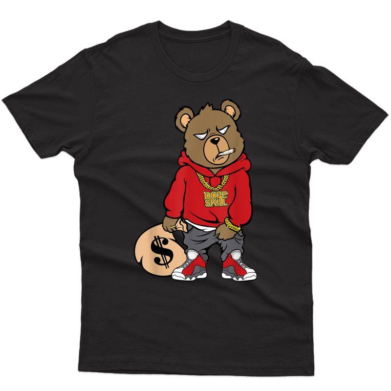 Hip-hop Bear Graphic Match Jordan 13 Red Flint T-shirt