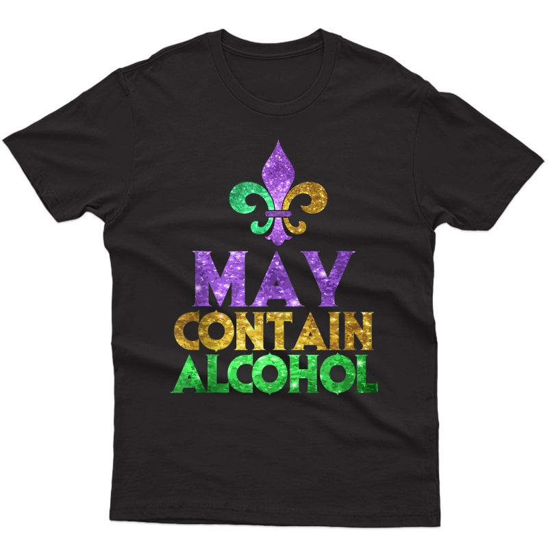 May Contain Alcohol Art | Cute Mardi Gras Party Funny Gift Tank Top Shirts