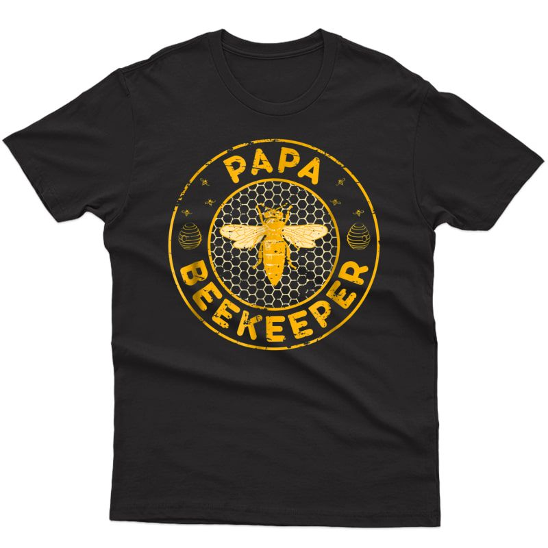 S Papa Beekeeper, Bee Whisperer Distressed Retro Style T-shirt