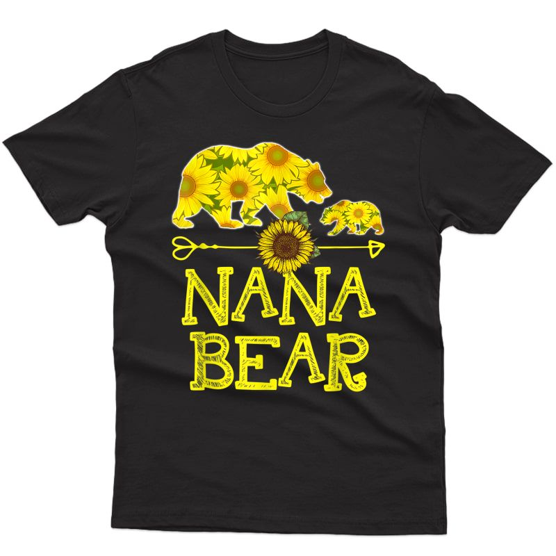 Nana Bear Sunflower T-shirt Funny Mother Father Gift T-shirt