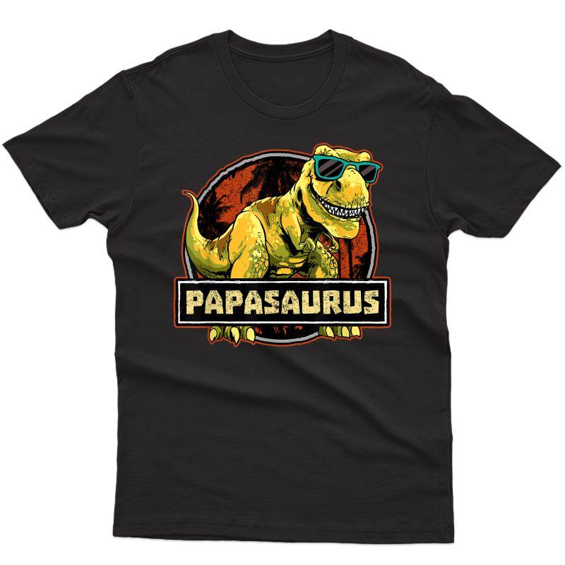 Papasaurus Shirt T Rex Papa Saurus Dinosaur Grandpa Dino T-shirt