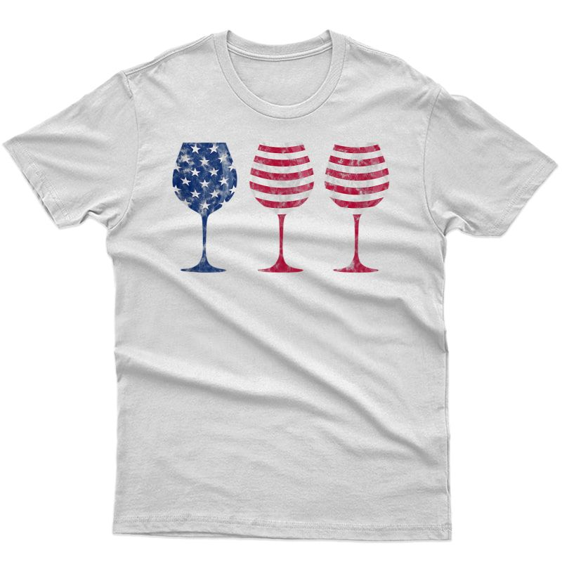Patriotic Wine Flag - 4th Of July American Flag Wine Glass Tank Top Shirts