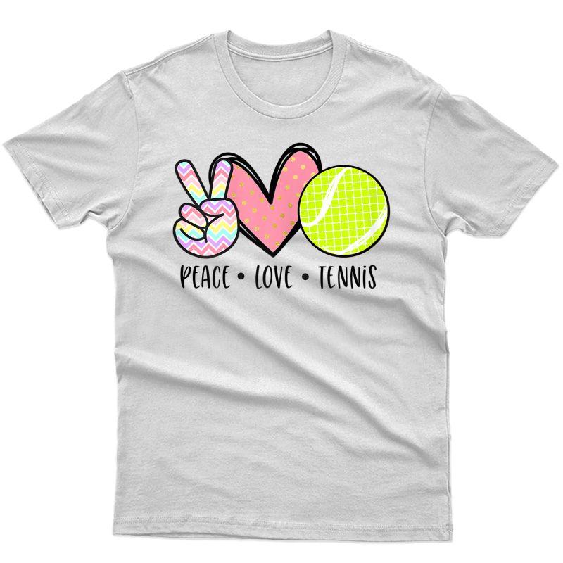 Peace Love Tennis Cute Design For Teen Little Girl T-shirt