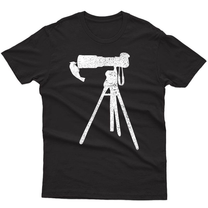 Retro Vintage Distressed Bird Photographer Wildlife Print T-shirt