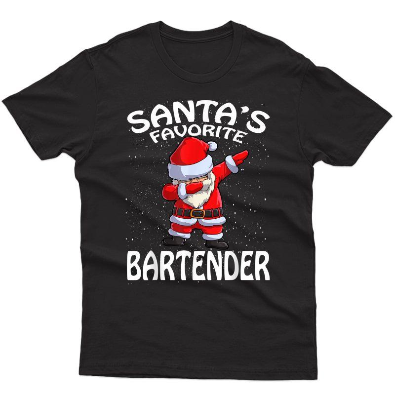 Santa's Favorite Bartender Santa Christmas T-shirt