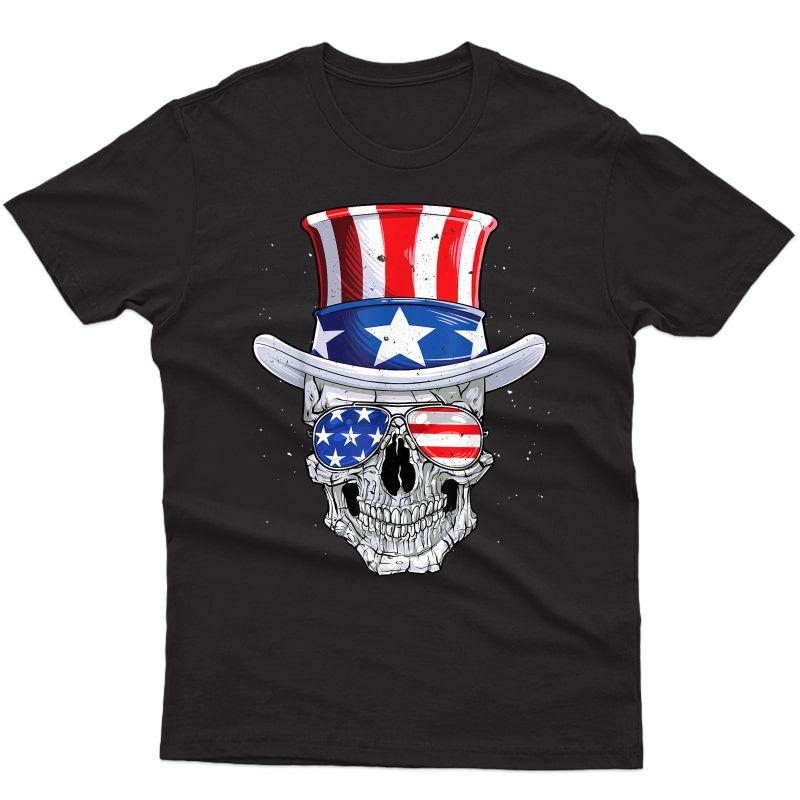 Skull 4th Of July T Shirt Uncle Sam American Flag T-shirt