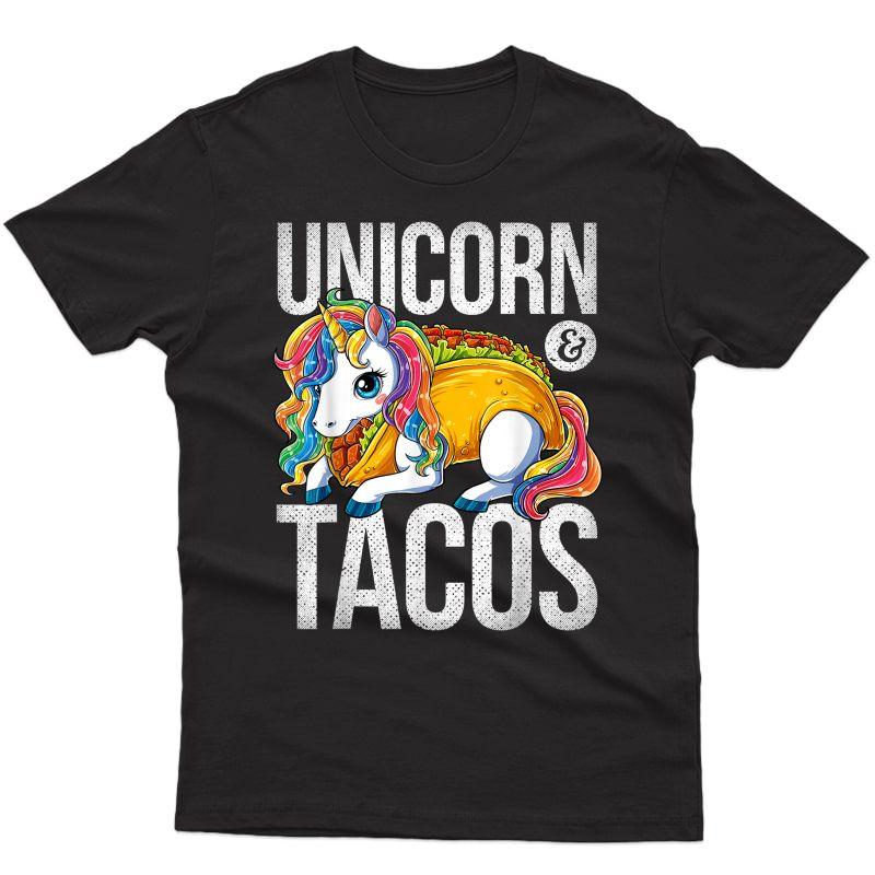 Unicorn & Tacos T Shirt Girls Rainbow Taco Squad