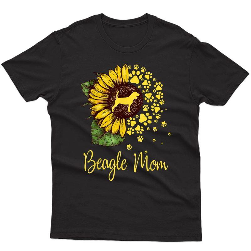 Sunflower Beagle Mom Dog Lover Gift T-shirt
