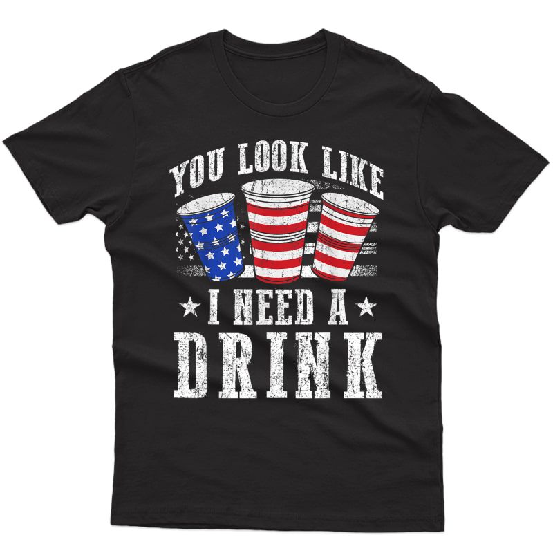 You Look Like I Need A Drink Red And Blue Beer Bong T-shirt